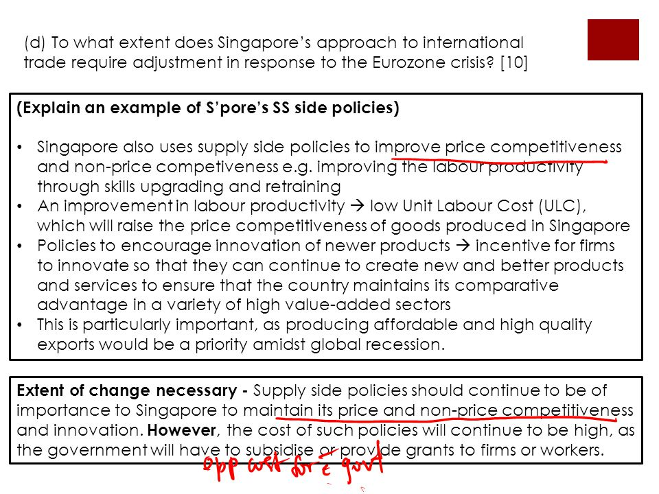 (d) To what extent does Singapore's approach to international trade require adjustment in response to the Eurozone crisis [10]